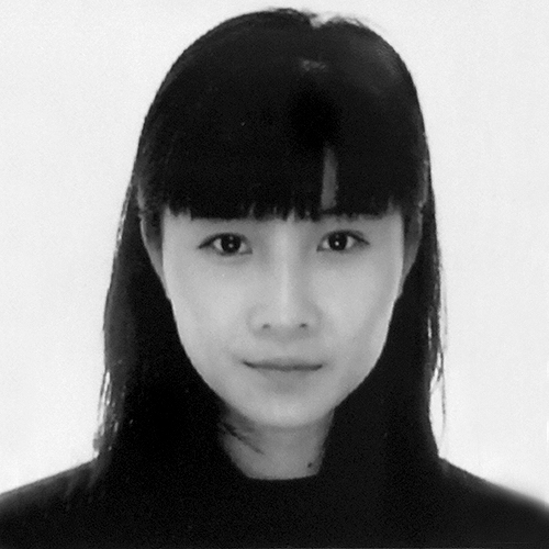 Black and white headshot of artist, Ashley Yuqi Zhang, looking directly at the camera, in a black top, with straight black hair and a long fringe.