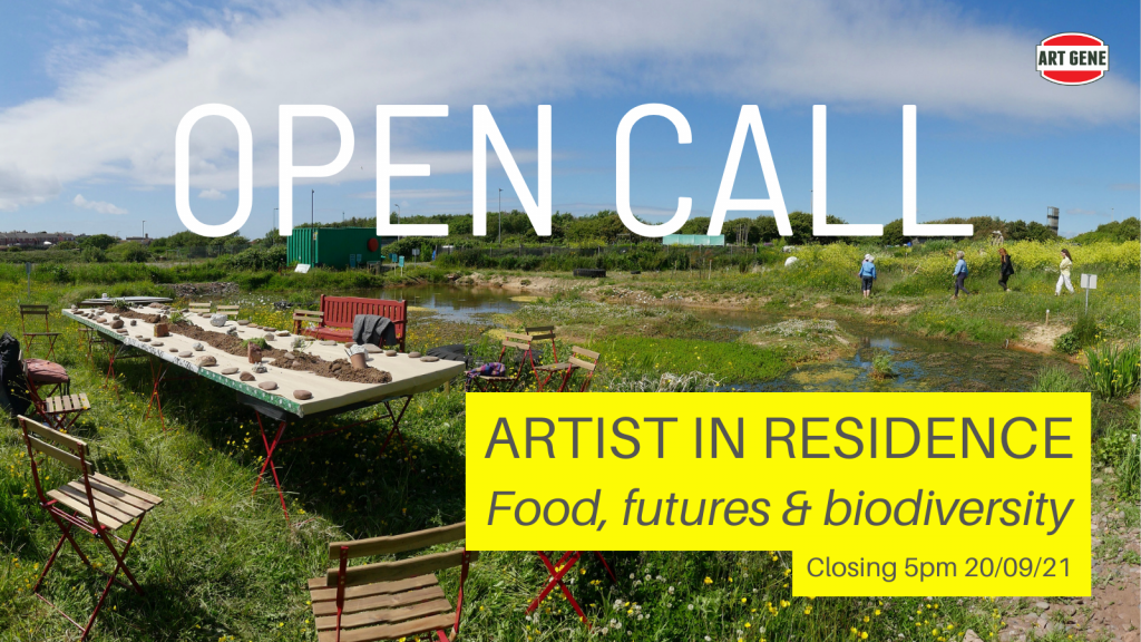 Open Call poster. A table is laid for an event next to a pond in a green field. Text: Open Call, Artist in residence, food futures & biodiversity. Closing 5pm 20/09/21.